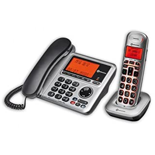 amplicomms BigTel 1480, Schnurgebundenes Großtastentelefon mit integriertem Anrufbeantworter und zusätzlich schnurlosem Mobilteil, Hörgerätekompatibel