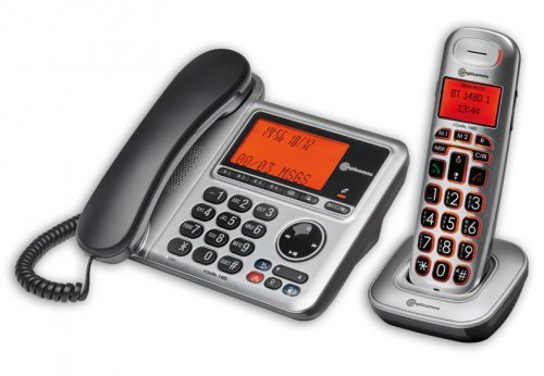 amplicomms BigTel 1480, Schnurgebundenes Großtastentelefon mit integriertem Anrufbeantworter und zusätzlich schnurlosem Mobilteil, Hörgerätekompatibel (Schnurlose Schnurgebundene Telefone)