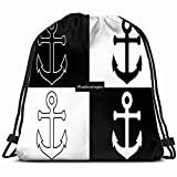 anchor icon nautical maritime objects signs symbols Drawstring Backpack Gym Sack Lightweight Bag...