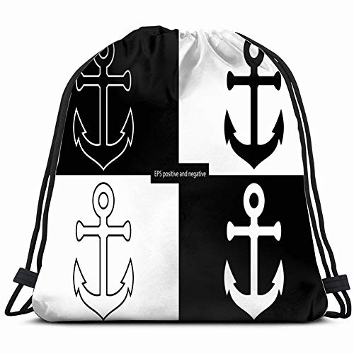 anchor icon nautical maritime objects signs symbols Drawstring Backpack Gym Sack Lightweight Bag Water Resistant Gym Backpack for Women&Men for Sports,Travelling,Hiking,Camping,Shopping Yoga -