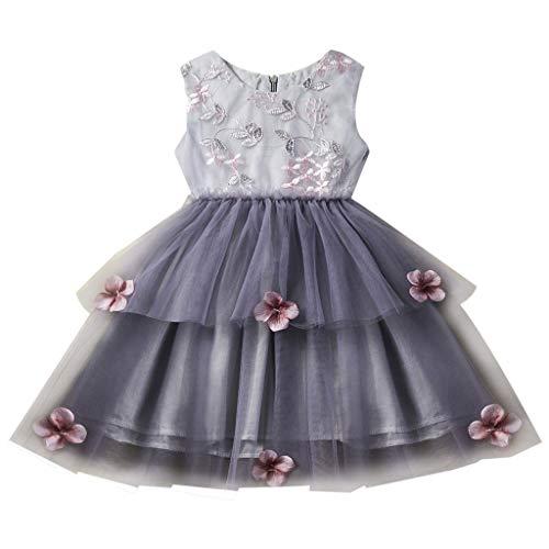 er Ärmellos Blumen Stickerei Tutu Tüll Prinzessin Kleid Minikleid für 1-5 Jahre Baby Kinder Frühling Sommer Baumwolle Grau Weiß Outfits Kinderbekleidung ()