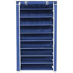 ISWEES Organizador de tela de zapatos, zapatero con 10 estantes,cajas de almacenamiento Funda con cremalleras 88 x 28 x 160 cm - resistente al polvo - Azul