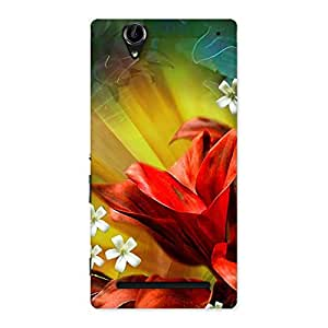 Stylish Beauty Flowers Print Back Case Cover for Sony Xperia T2