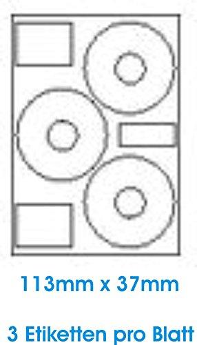 300 Stk. Selbstklebende WEIßE Etiketten permanent klebend Adressetiketten Etikettenformat CD DVD Labels Rund Ø 113.0x37.0 mm, 100 Blatt DIN A4, 70g/qm, geeignet für Inkjetdrucker-, Laserdrucker und Kopierer.