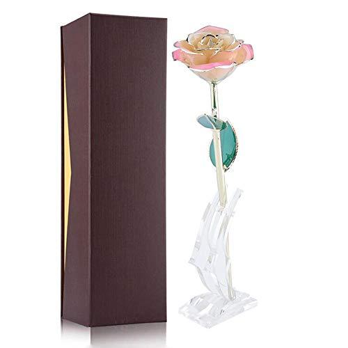 ld Rose mit Stand und Verpackungskasten, Romantisches persönliches liebevolles Blumengeschenk für Frau Freundin Geburtstag Muttertag Hochzeitstag Jahresta (Weißes Rosa) ()