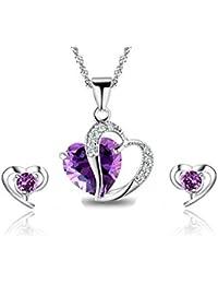 FINDOUT Collar para mujer de amatista, corazón de cristal blanco, colgante de plata + pendientes, para mujeres y chicas