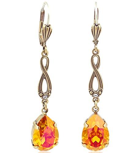 Jugendstil Ohrringe mit Kristallen von Swarovski Gold Orange Pink NOBEL SCHMUCK