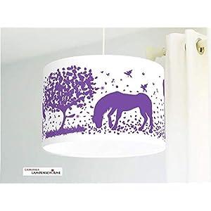 Kinderzimmerlampe für Mädchen mit Pferden in Lila