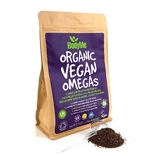 BodyMe Bio Veganes Omegas Pulver | 810g | Veganes Omega 3 6 9 Mischung | Mit Gemahlener Leinsamen Gemahlener Chiasamen Hanfsamen Gefriergetrocknete Heidelbeere Kokosnuss Gefriergetrocknete Acaibeere -
