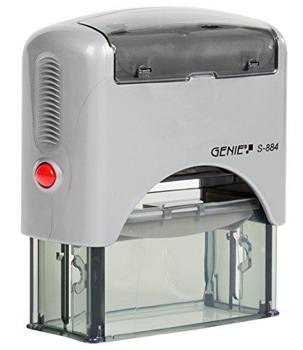 Genie S-884 Selbstfärbender Stempel Set (bis zu 5 Zeilen, selbstgestalten, Inkl. Zubehör, Stempelkissen) schwarz/silber