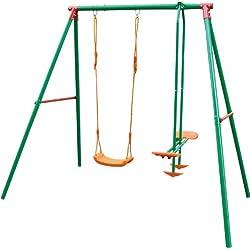 Sportplus SportPlus SP-GAM-203 - Balançoire pour Enfants avec 1 Place individuelle + Balancelle avec 2 Assises - Test de sécurité selon EN 71 Balançoire Multicouleur