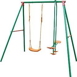 Sportplus Kinderschaukel mit einer Schaukel & einer Tellerwippe, wetterbeständige Gartenschaukel für Kinder inkl. Montageset & Bodenanker, Schaukel ab 3 Jahre bis 105kg