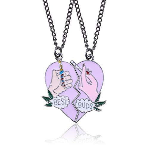 CJMDEH Halskette,Lila 2 Stück/Set Zigarettenanzünder Halskette Damen Bester Freund Halskette Pink Gebrochenes Herz Anhänger BFF Schmuck