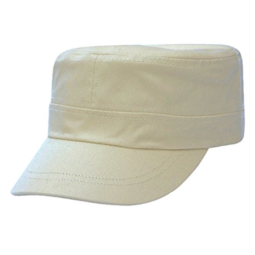 Lifeyz Modische Solid Color Unisex Flat-Top-Kappe Armee-Art-Kadett-Kappe Hut Sun Cap mit verstellbarem Gurt (Beige) (Armee Kadett Kostüme)
