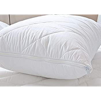 1 Pair Quilted Polycotton Zipped Pillow Protectors