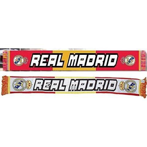 REAL MADRID Regalo Sciarpa DOBLE. decorato a due lati, colori bandiera della Spagna, colore: bianco, dimensioni: 150 x 18 cm-idea Regalo con 3 paia di calze Tiendadeleggings