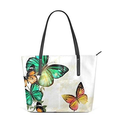 Magic Butterflies Portemonnaie PU Leder Schulter Tote-Tasche für Damen Mädchen Damen -