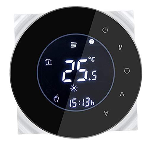 LYDUL WiFi Smart-Thermostat, Digital Thermostat, runder Entwurf für 3A Fußbodenheizungen mit Elektroantrieb für Verteiler und Ventile normalerweise geschlossen,Schwarz