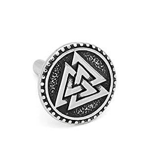 GuoShuang nordisch Wikinger Valknut Amulett Rostfreier Stahl Manschettenknöpfe für Mann und Frau – mit Valknut Rune Gift Bag