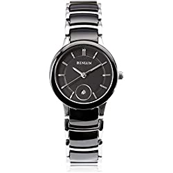 BINLUN Ladies Black Ceramic Causal Quartz Analogue Watch with Calendar Date Waterproof Watches for Women