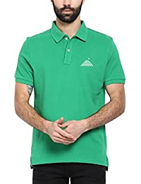 First Row Green Half Sleeve Regular Fit Cotton Polo T-shirt