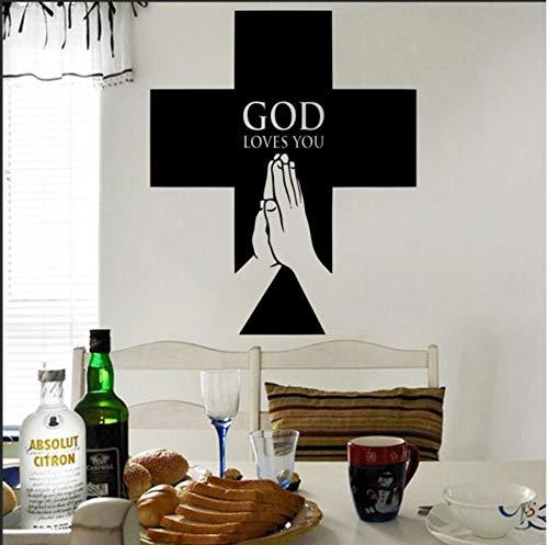 Fushoulu 57X71Cm Religiöse Christian Cross Wall Decal Aufkleber Christliches Kreuz Jesus Wandtattoo Gott Liebt Dich Jesus Home Wall Decal Poster