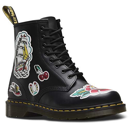 Martens 8 Eyelet (Dr. Martens Womens 1460 Chris 8-Eyelet Black Multi Leather Boots 41 EU)