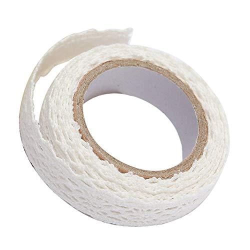 Blumenmuster-Band Double-Layer-Spitze-Klebeband-Stirnband Dekorieren Craft Fall klassische Blumen-Spitze-Band-Weiß