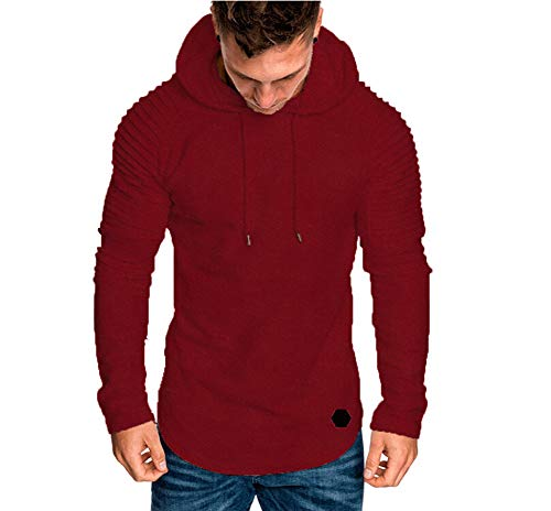 Herren Casual Langarm Solide Fitness Pullover Mit Kapuze Sport Gym Jogger Sweatshirt Tops Hoodie Outwear (L, Weinrot)