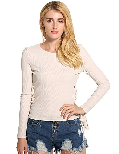 Relaxfeel Col rond Rope Porter à manches longues Slim Pull Beige