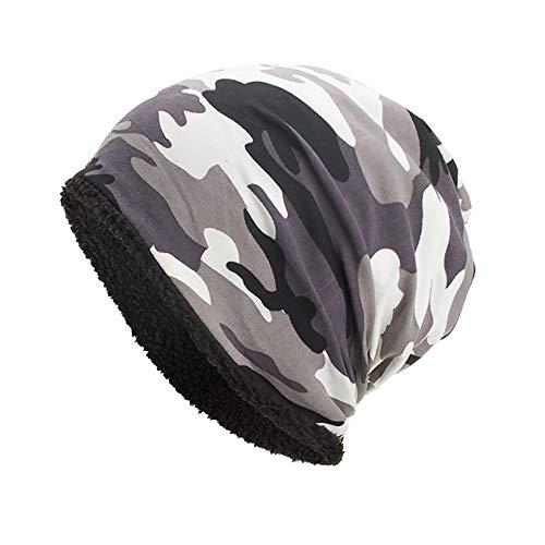 YWLINK Beanie MüTze Camouflage Woodland Mit Warmes Futter FüR Damen Herren MäDchen Jungen Hat Unisex One Size(Weiß)