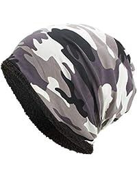 Sombreros Unisex Invierno, ❤️ Zolimx Mujeres Hombres Cálidos Holgados Camuflaje Crochet Invierno Lana Esquí Beanie Cráneo Gorras Sombrero