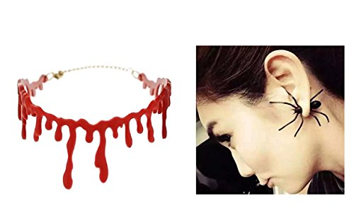 Schmuck Set Blut Halskette und Ohrringe Ohrstecker für Damen Herren Unisex mit Spinne - passende Kette erhältlich - Ideal für Halloween (Geld Kostüm)