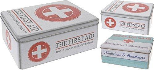 Medizinbox Medizindose Metall Medizin Box Erste Hilfe Dose mit Deckel Aufbewahrungsdose (First aid case-Mint/Weiß/Rot)