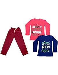 IndiWeaves Girls Cotton T-Shirts and Trackpants Pack of 3