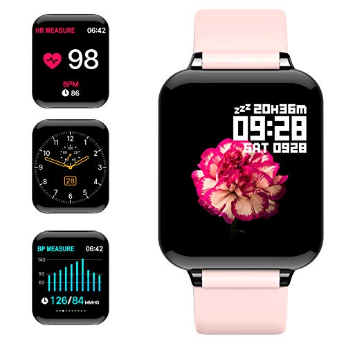 jpantech Smartwatch, Fitness Tracker Voller Touchscreen 5ATM Wasserdicht Smart Watch Intelligente Aktivitäts Uhr Sportuhr, Damen Herren Pulsmesser Schlafmonitor Android iOS(Pink)