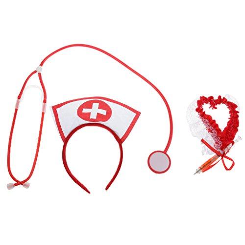 Fenteer Krankenschwester Cosplay Zubehör Set Inklusive: Stethoskopspielzeug + Stirnband + Strumpfband, Weiß und Rot