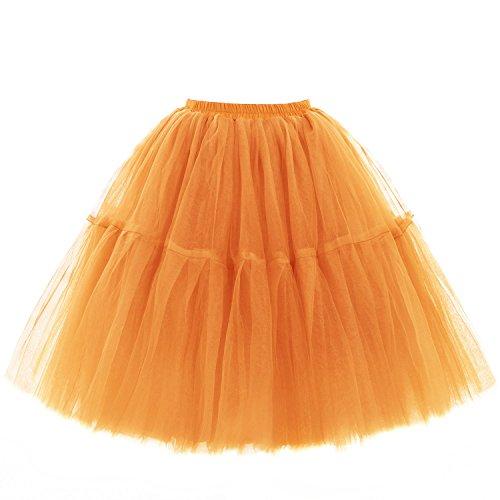 Babyonline Damen Tüllrock 5 Lage Prinzessin Kleider Knielang Petticoat Ballettrock Unterrock Pettiskirt Swing One Size - Orange
