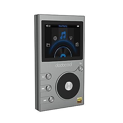 dodocool 8GB Hi-Res Lecteur de Musique Hi-FI Audio Digital Lossless, Baladeur Sport de Musique avec Enregistreur Vocal et Radio FM, 2 Pouces Ecran LCD, 30 Heures Lecture et Extensible 256G,Gris de dodocool