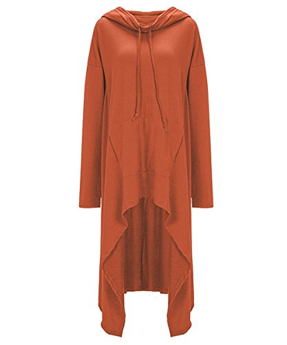 Sweat a Capuche Large File Sweatshirt de Sport Hip Hop Pullover Oversize Robe Casual Pull Asymetrique Femme Long Hiver Grande Taille Hoodie Pull Manche Longue avec Poche Ample Chemisiers Beau Joli Orange