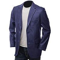 Hidekin® - A Slim, Sophisticated Leather Blazer in The Softest, Sheep Nappa Hide. (Blue, X-Large)