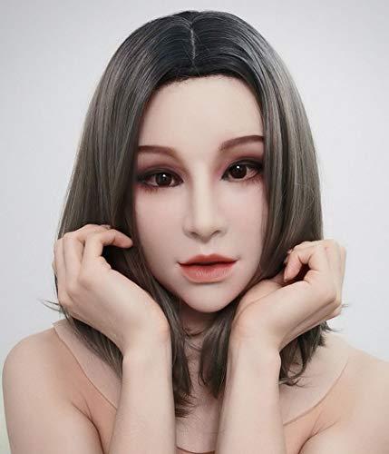 PMD HAENA Silikonmaske Transgender Requisiten Weibliche Engels Realistische Gesichtsmaske, Geeignet Für Transgender, Rollenspiele, Transen, Mann Werden Frau