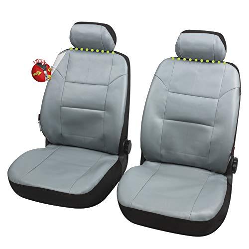 Coprisedili Anteriori Pelle Grigia Scenic Versione (2004-2009 (JM)) compatibili con sedili con airbag, con Fori per i poggiatesta e bracciolo Laterale