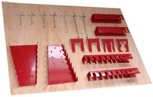 Werkzeughaltersortiment für Euro-Lochwand mit 22 Teilen in Rot - Silber