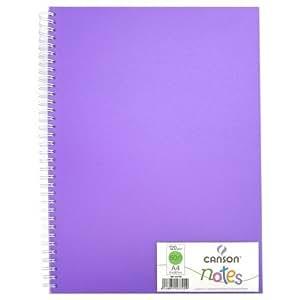 1 Carnet à dessin/notes spirale A4 120g 50 feuilles unies couverture polypro violet