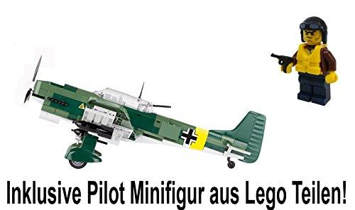 Modbrix 5521- ✠ Bausteine STUKA Flugzeug Junkers Ju 87 B inkl. Luftwaffen Pilot aus original Lego® Teilen ✠ thumbnail