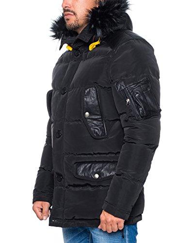 ... Warme HUSARIA Designer Para Funktionsjacke Winter Herren Jacke Parka  mit Fell und Kapuze 1108 Schwarz ...