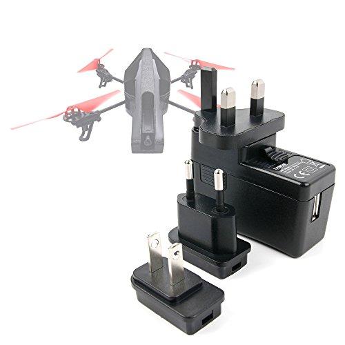 DURAGADGET Kit De Adaptadores Con Cargador Para Dron Parrot AR Drone 2 0  Power Edition/Qcopter H5P Drone/RC EYE One Xtreme/Revell Funtic Conecte Su