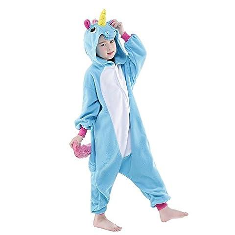 Pyjama Enfants Unisexe Animaux Pyjama Combinaison de Nuit Kigurumi Noel Halloween Cosplay Costume (125, licorne