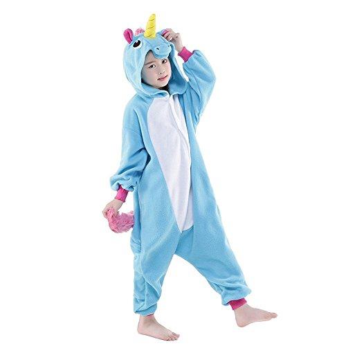Pyjama Enfants Unisexe Animaux Pyjama Combinaison de Nuit Kigurumi Noel Halloween Cosplay Costume (125, licorne bleu)